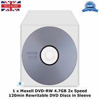 Maxell DVD-RW Storage 4.7GB 2x Speed 120min Re-Writable DVD Discs in Sleeve LOT