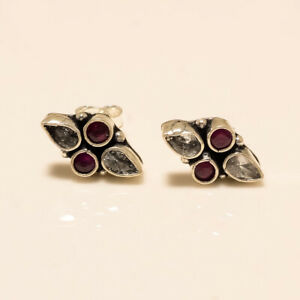 Russian white Topaz Red Ruby Earring 925 Sterling Silver Wedding Jewelry Gifts