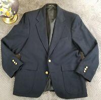 Vintage CC Courtenay Mens Navy Blue 100% Wool Sports Coat Jacket Blazer Size 42S