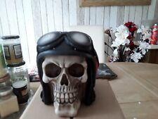 Biker hell fire Skull Statue Motorcycle Helmet Skull Ornament 15cm new
