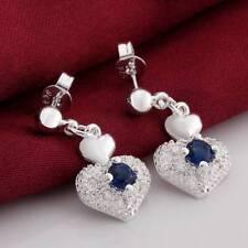 Fashion 925 Silver plated Jewelry Blue Crystal Heart Dangle Earrings