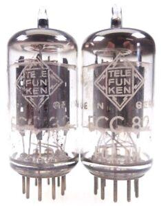 2x ECC82 = 12AU7 Telefunken <> pair smooth plates Röhre tube tested #7031