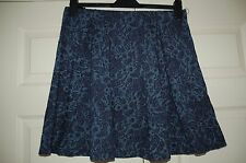 New TU 16 Slightly Flocked Blue Paisley Skater Style Aline Full Mini Skirt Gift