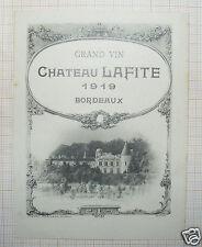 B864/ AUTHENTIQUE RARE ÉTIQUETTE VIN CHÂTEAU LAFITE 1919 BORDEAUX
