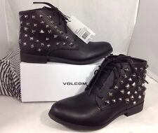 NEW VOLCOM Faux Black Leather Women's Boots Size 6 1/2 Biker Studded Ankle Shoes