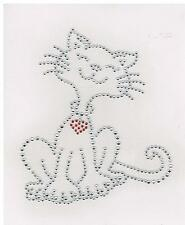 Cat Rhinestone iron on Bling Transfer DIY Hot fix Applique smiley cat