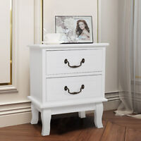 White Nightstand Wooden Bedside End Table Bedroom Furniture W/2 Drawer Storage