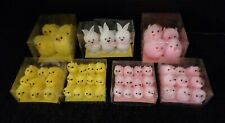 Group lot Chenille Easter Rabbits & Pink Yellow Chicks Assortment Shipping Disc