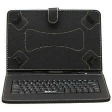 "Black iRULU Stand Case Blue Skin USB Keyboard PU Leather Cover For 10.1"" Tablet"