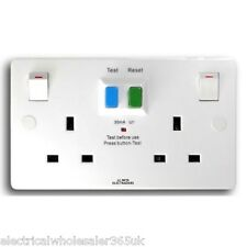 13A Double RCD Socket 30mA Safety Trip Protected 2 Gang Twin|Selectric SPLRCD2GS