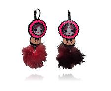 Boucles d'oreilles Matriochka,lol bijoux,poupée russe,pompon rouge