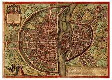 Paris Île-de-France France bird's-eye view map Braun Hogenberg ca.1572
