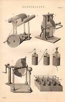 1868 Estampado ~Electricidad~ Varios Apparatus