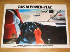 BMW M3 E30 POSTER 18 - COCKPIT M POWER-PLAY 1989 SCHNITZER ORIGINAL / VINTAGE