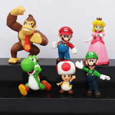 "Mario Bros & Friends Set Of 6 1-1/2"" - 2-1/2"" Birthday Cake Topper Figurines Set"