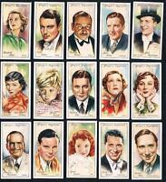 1934 Player Film Stars Near Full 33/50 Tobacco Card Set