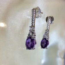 1.75 Ct, Amethyst Drop Earrings, White Topaz, Butterfly Fasten, Sterling Silver