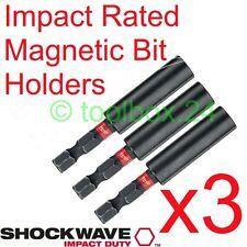 3x Milwaukee Impact Duty Magnetic Screwdriver Bit Holder for DeWalt Makita Bosch