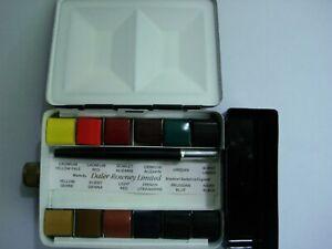 Vintage Rowney Artists Watercolour Sketch Box 12 Paint Pans, Brush, Water Bottle