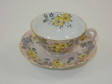 Diamond Floral Print Tea Cup & Saucer ~ Made in Occupied Japan