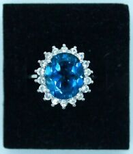 Vintage 9ct white gold Blue Topaz and Cubic Zirconia cluster ring. Size O.