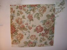 """Highland Court """"English Rose"""" embroidered remnant for craft color rose and green"""