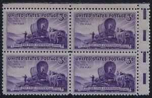 "950 - Miscut Gutter Snipe Error/EFO Margin Block4 ""Utah Centennial"" Pioneers MNH"