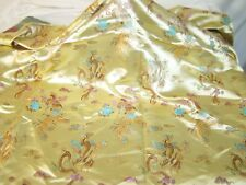 "Dragon Print Gold Silk Feel Fabric 35.5""x45"" Oriental Fantasy Mythical"