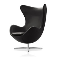 Black Egg Chair Armchair Leather living Room Office Minimalist Furniture