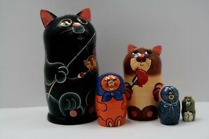 Matroschka Katze Babuschka russische Puppe Holzpuppen Matrjoschka Spielzeug
