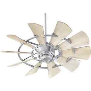 "94410-9 Windmill 44"" Ceiling Fan Wall Control Galvanized Steel Quorum  IN STOCK"