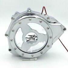 White LED See Through Engine Cover For Suzuki Gsx1300R Hayabusa 1999-2013 chrome
