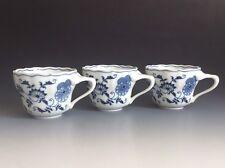 Set Of 3  Blue Denube Japan Blue Onion Teacups