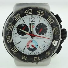 TAG HEUER MENS CAC1111 FORMULA ONE WHITE DIAL CHRONOGRAPH PARTS OR REPAIRS AS-IS