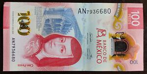 MEXICO 2020 $100 SOR JUANA POLYMER NOTE + SERIES AN + see img. slight godwhack