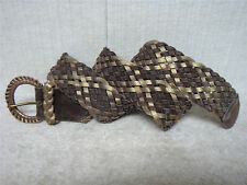 HOLLISTER - Women's Casual Fashion Belt - Brown & Olive Woven Suede - Size M/L