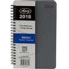 2018 Student Weekly Planner Calendar Notebook Agenda Gray Spiral Cover