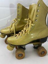Vintage 1970's Sears Gold Glitter Disco Roller Skates Ladies Size 6