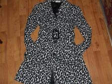 Stunning Black & White Leopard Look Long Coat - Size 10 'Tightrope' AS NEW