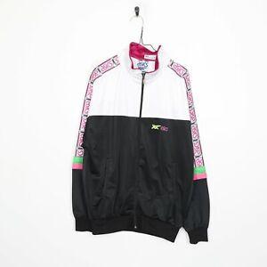 90s ASICS Tape Logo Tracksuit Top Jacket White   2XL