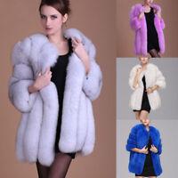 Luxury Women Faux Fox Fur Coat Jacket Lady Long Sleeve Winter Warm Parka Outwear
