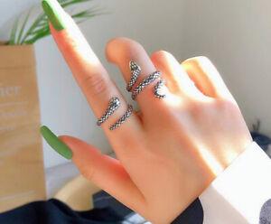 Cool Snake Adjustable Ring 925 Sterling Silver Plt Women Girl Men Jewellery Gift