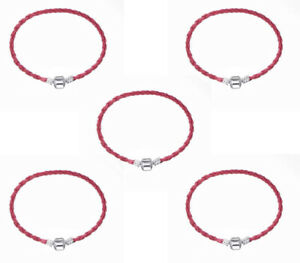 5PCS water red Leather Bracelets Chain Bangle Fit European Charm Beads 20cm