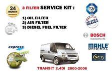 PER FORD TRANSIT 2.4Di 2000-2006 kit revisione 3 FILTRI OLIO ARIA CARBURANTE
