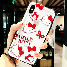 Hello Kitty Transparent Tempered Glass Shockproof Cover Case For iPhone X 8 7 6S