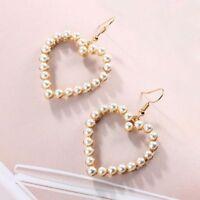Drop Dangle Women Jewelry White Pearl Love Heart Earring Piercing Earrings