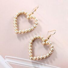 Drop Dangle Women Jewelry White Pearl Love Heart Earring Piercing Earrings
