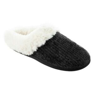Isotoner Chenille Quinn Fur Memory Foam Hoodback Mule Clog Slipper House Shoe