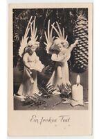 1956 Antigua Tarjeta Postal Navidad Ángeles de Madera Mandolina Weihnachten