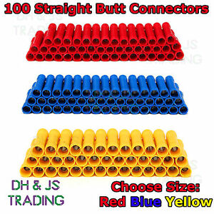 100 Electrical Straight Butt Connectors Terminal Crimp Cable - Red Blue Yellow